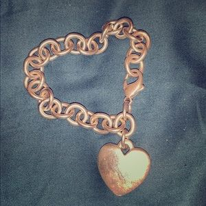 James Avery heart cable silver charm bracelet